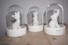 Glaskuppel mit Keramikfigur und LED Nr.95