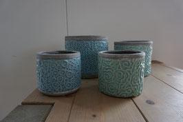 Keramikübertöpfe mint und blau Nr.73