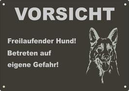 """Warnschild schwarz eloxiertes Aluminium """"Vorsicht Freilaufender..."""" Schäferhund"""