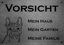 """lasergraviertes Edelstahlschild Französische Bulldogge """"Mein Haus..."""""""