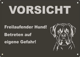 """Warnschild schwarz eloxiertes Aluminium"""" Vorsicht Freilaufender Hund...""""Boxer"""