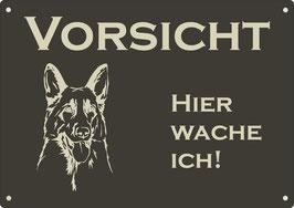 """Warnschild schwarz eloxiertes Aluminium """"Vorsicht Hier wache ich!"""" Schäferhund"""