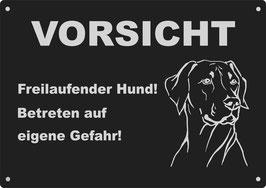 """Warnschild schwarz eloxiertes Aluminium"""" Vorsicht Freilaufender..."""""""