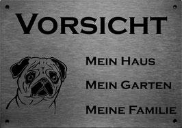 """lasergraviertes Edelstahlschild Mops  """"Mein Haus..."""""""