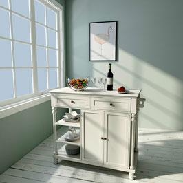 Euro Kitchen Island 2 Door 2 Drawer 3 shelves in  White