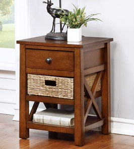 eHemco End Table with Drawer and 2 Shelves and Basket-Fully Assembled