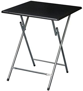 Extra Large Metal Folding TV Tray/Table - Black Top