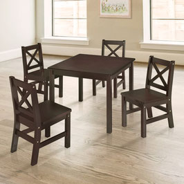 Kids Table and 4 Chairs Set Solid Hard Wood in Espresso with X-Back Chair