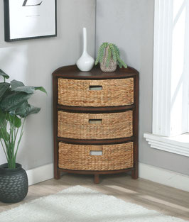 3 Tier X-Side Corner Table/Cabinet Storage with 3 Baskets