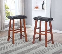 "Heavy Duty Padded Faux Leather Saddle Seat Stools - 29"" Espresso, Set of 2"
