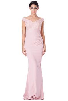 Off The Shoulder Sequin Maxi Dress - Nude