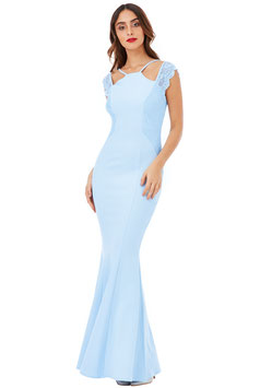 Sleeveless Maxi Dress with Lace Detail - Blue