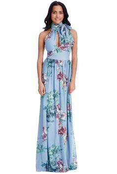 Halterneck Floral Print Maxi Dress - Blue