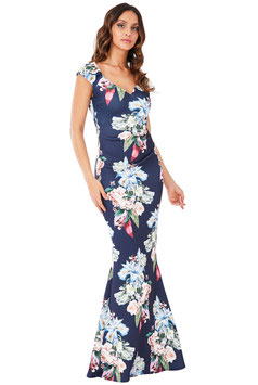 Sweetheart Neckline Floral Maxi Dress - Navy