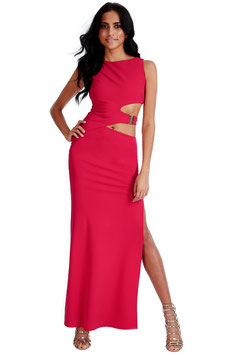Waist Cutouts Maxi Dress - Cerise