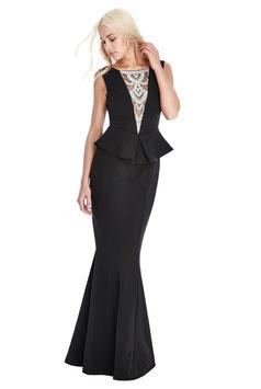 Embellished Neckline Maxi Dress - Black