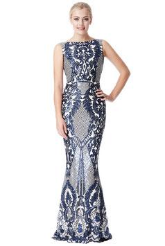 Brocade Print Sequin Maxi Dress - Navy