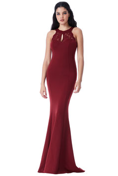 Open Back Lace Maxi Dress with Frill Detail - Wine