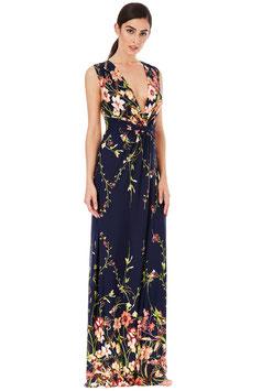 V Neck Floral Print Maxi Dress - Navy