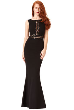 Sequin Zig Zag Maxi Dress -Black