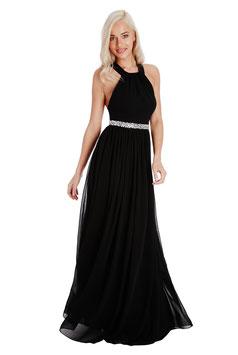 Halter Neck Chiffon Maxi Dress - Black