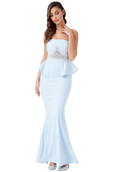 Strapless Embellished Peplum Maxi Dress - Powderblue