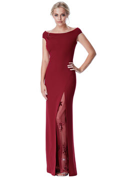 Off The Shoulder Maxi Dress with Lace Split Detail - Wine