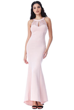 Open Back Lace Maxi Dress with Frill Detail - Blush