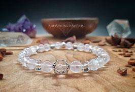 Rosenquarz und Bergkristall Armband