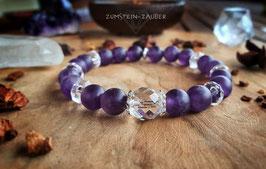 Amethyst matt und Bergkristall Armband