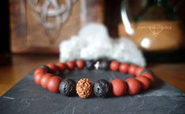 Roter Jaspis, Lava und Rudraksha Armband
