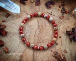 Roter Jaspis und Landschaftsjaspis Armband