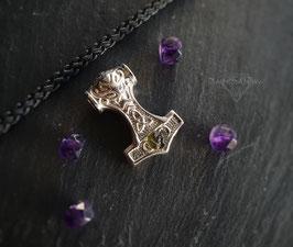 Mjölnir mit Moldavit Halskette