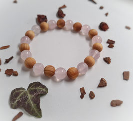 Rosenquarz und Zedernholz Armband