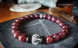 Sterngranat, Turmalin und Bergkristall Armband