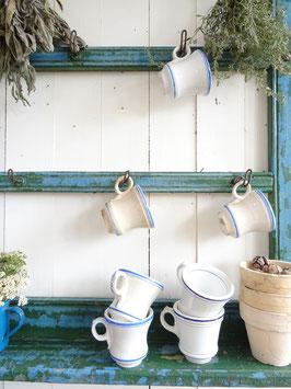 uralte schwere franz Kaffeetasse Brulot dickes Porzellan blaue Streifen