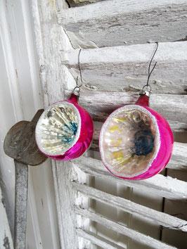 2erSET uralte Baumkugeln silber / pink mit Einstich