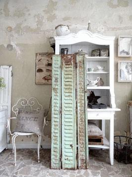VERKAUFT Lad 19.09.   157cm uralter franz METALL Fensterladen salbeigrün