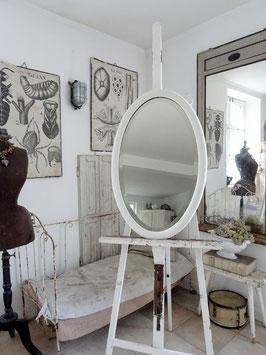80cm uralter Spiegel - alter weißer Lack - shabbychic pur - oval
