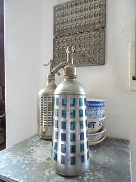 VERKAUFT Jan 29.02.  ummantelte uralte franz Sodaflasche blau Kegelform