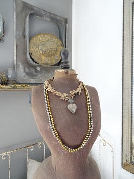 170cm uralte Baumkette aus Hohlglasperlen - silber/gold