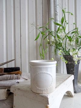 antiker Vorratstopf LUNEVILLE weiße Keramik