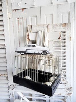 sehr alter Singvogelkräfig - schwarz