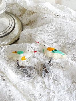 2erSET uralte Glasvögel roter Schnabel