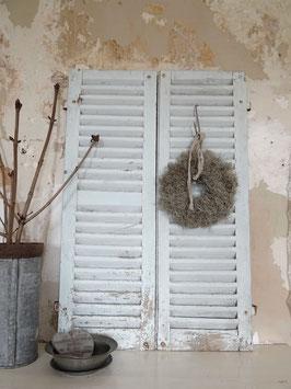 134cm uraltes PAAR Lamellen Fensterläden - traumschöne Patina