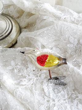 uralter Glasvogel silber / rot