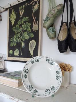 antiker Suppenteller BADONVILLER dunkelgrünes Dekor