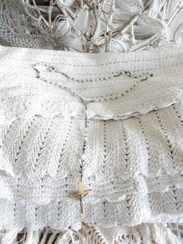 antiker franz Rosenkranz weiße Glasperlen Perlmuttkreuz
