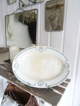 antike Platte oval dunkelgrünes Dekor aus Belgien