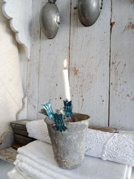 antiker Kerzenhalter KRONE blau